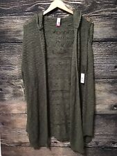 New W/ Tag No Boundaries XXL (19) Olive Green Open Cardigan Hooded Knit Sweater