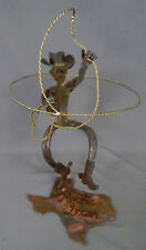 """Texas Rodeo Star"" Kinetic Cowboy metal sculpture, found object horse shoe art"