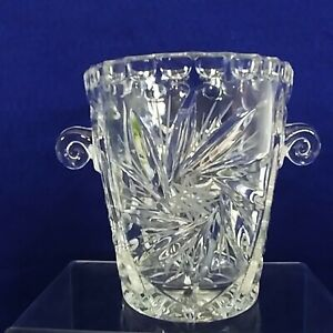 "Glass Ice Bucket Star Pattern Curly Handles Distinctive Barware 5.25"" Tall"