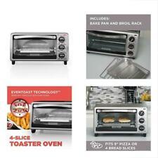 NEW BLACK+DECKER Toaster Ovens TO1313SBD 4-Slice Oven, w/Bake Pan, Broil Rack