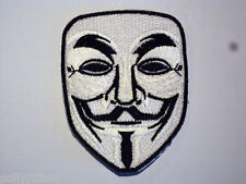 NOVELTY SEW ON / IRON ON PATCH:- ANONYMOUS V FOR VENDETTA (a) GUY FAWKES MASK