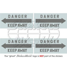 """DANGER KEEP AWAY LowVis Helicopter 2"""" Vinyl Stickers x4"""