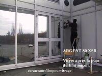 FILM adhesif de protection SOLAIRE - ARGENT (rejet IR: 80%) - vente ml en 61 cm