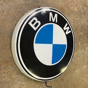 BMW BADGE LED ILLUMINATED WALL LIGHT SIGN GARAGE GAS & OIL AUTOMOBILIA M POWER