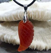 New Red Agate Angel Wing Gemstone Pendant on Genuine Leather Necklace