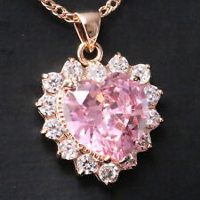 4 Ct Pink Sapphire Necklace Heart Pendant Women Jewelry 14K Rose Gold Plated