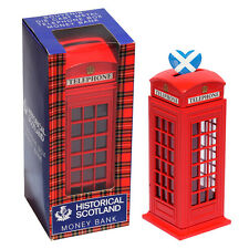 Scotland Die Cast Red Telephone Booth MONEY BOX Bank UK Souvenir Gift 14cm