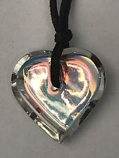 BACCARAT Clear/Rainbow/Iridescent A La Folie Crystal Heart Necklace USED in BOX