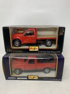Maisto 1997 Ford F-150 & F-350 Super Duty Red 1:26 Diecast Trucks