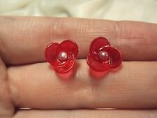 vintage petite Precious Rose pink + white pearl flower stud earrings Avon 1989