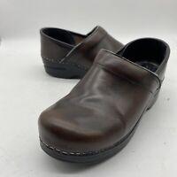 DANSKO 37 Loafers 6.5 - 7 Brown Leather Clogs Slip On Wedge Nursing Size 37