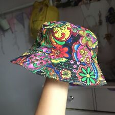 Funky Psycedelic Rave Pattern Bucket Hat- One Size Fits All (Blue, Black, Red)