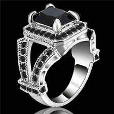 Trendy Square Cut Black Sapphire White Rhodium Plated Band Ring Jewelry Size 8