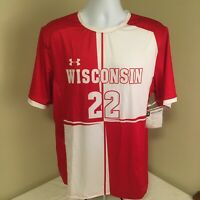 Under Armour Mens Soccer Jersey Wisconsin Badgers #22 Large Sample NWT Free Ship