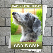 Lurcher personalised birthday card. 5x7 inches. Dog.