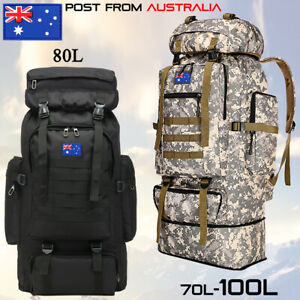 70L/80L/100L Large Military Tactical Backpack Rucksack Camping Hiking Travel Bag