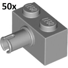 LEGO 50x LIGHT GRAY BRICK MODIFIED 1x2 w/ PIN LOT Technic connector part #2458
