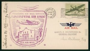 MayfairStamps US First Flight Cover Texas San Angelo to San Antonio Continental