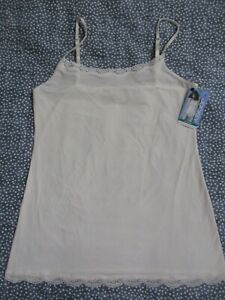 NEW JOCKEY CAMISOLE LARGE 1385 NO PANTY LINE PROMISE LACE TRIM CAMI IVORY TACTEL