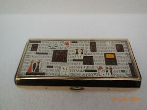 Musical Powder Vanity Compact ~ Egyptian Revival Design Top