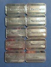 Lot of 10 - VINTAGE MERRILL LYNCH - 1 Oz .999 Fine Silver Bars Ingots