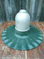 Vintage Scalloped Porcelain Gas Station Light Fixture