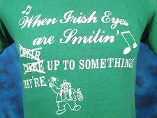 vintage 80s IRISH EYES DRUNK LEPRECHAUN DISTRESSED PAPER THIN T-Shirt XS beer
