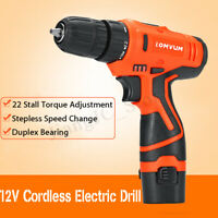 12V Li-Ion Cordless Electric Drill Driver Hand Kit w/ LED Light Rechargeable K