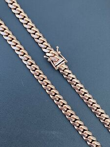 "Mens Real Solid 14k Rose Gold Miami Cuban Link Chain 6mm 69g Italy 24"" Necklace"