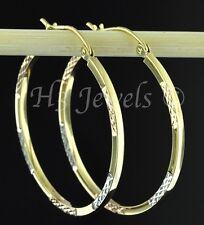 14k solid tri gold diamond cut  hollow hoop earring 1.60 grams 1 3/16 inch #3019