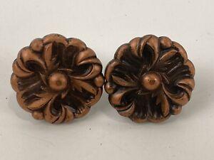 """2 pcs Vintage Amerock Copper 1 1/4"""" Ornate Rose Floral Knobs RDCA Style # 1960"""
