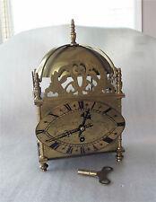 Brevet Antique Brass French Lantern Clock Key Wind, Hour Strike Working 1890's