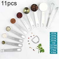 AU_ 11Pcs Kitchen Stainless Steel Measuring Spoons Cup Cooking Baking Scale Scoo