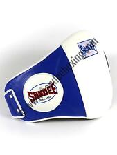 Sandee Velcro Blue & White Leather Belly Pad Muay Thai Boxing MMA UFC