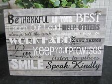 Handmade Fun Family Rules Wall Plaque Gift Large Distressed wood effect New Home