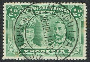 1910 Rhodesia Double Head 1/2d P14 Fine Crisp MONGU-LEALUI CDS Very Fine Used