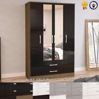 Lynx Wardrobe 4 Door 2 Drawer Mirror Black Grey White Walnut Drawers Wood Modern