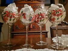 """4pc NEW NWT Christmas Hand Painted Wine WATER GLASSES Goblets 16 oz. BIG 8"""" TALL"""