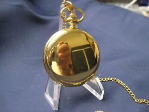 Edle Sprungdeckeluhr, golden, mit Kette, 24 Stunden Zifferblatt, gebraucht