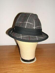 Ben Sherman Hat Fedora Gray Plaid Wool Blend (NWOT)