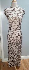 vintage vivienne tam vintage sexy brown & white long dress open size 6-8+
