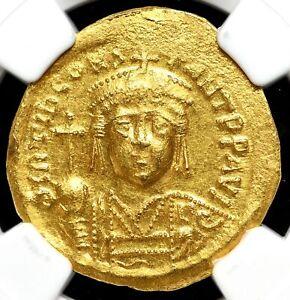 Tiberius II Constantine. AD 578-582. Gold Solidus, NGC Ch AU, 4/5-3/5
