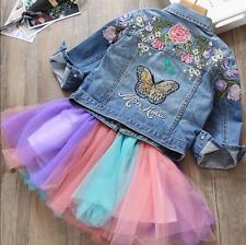 New Fashion Kids Girls Embroidery Floral Jean Jacket Children Casual Denim Coat