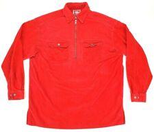 VTG Marlboro Unlimited Red Corduroy 1/2 Zip Pullover Shirt Jacket Mens Medium M