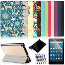 Auto Wake/Sleep Leather Cover Stand Case For Amazon Fire HD 10/ HD 8 / Fire 7