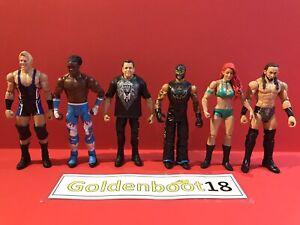 WWE MATTEL WRESTLING FIGURE BUNDLE X6 JERRY LAWLER REY MYSTERIO XAVIER WOODS