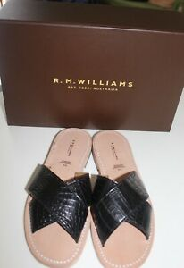 R M Williams crocodile leather sandals, BNWT, Size 9, black, flats,