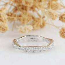 Wedding Band Ring 14K White Gold Gp 1.00 Ct Double Pave Set Accent Diamond Stack