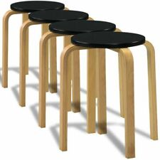 4 Black Stackable Solid Bentwood Stools Chair Kitchen Office Parties Breakfast