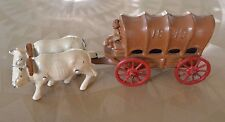 """Vintage Metal Cast Iron """"1849"""" Covered Wagon & Oxen Made in USA"""